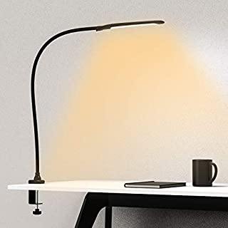 YOUKOYI Swing Arm Lamp, Flexible Gooseneck Desk Lamp, Architect Table Lamp with Clamp- Stepless Dimming, 3 Color Modes, Touch Control, 9W, 1050LUX Eye-Care for Study/Reading/Office/Work (Black)