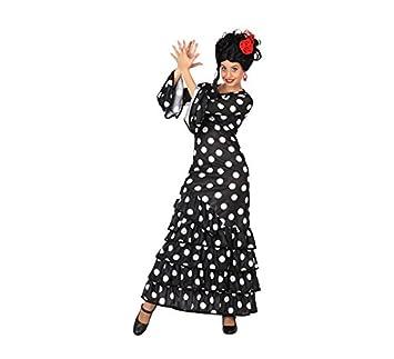 Atosa 28601 - Flamenco, negro, señoras traje, tamaño 34/36, negro/blanco