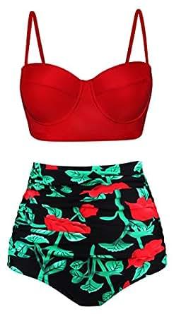 Angerella Retro Vintage High Waisted Bikini Swimwear Bathing Suit Black,US4-6=Tag Size M