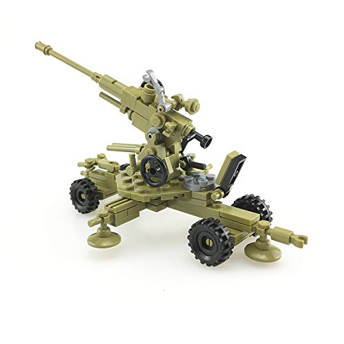 koolfigure Custom WWII Towed Anti-Aircraft Machine Gun Building Blocks Toy Set, WW2 Military Army Mini Build Bricks