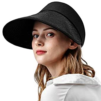 camptrace Sun Visor Straw Hats for Women Large Wide Brim UV Protection Summer Beach Cap Packable - Black - Adult Size