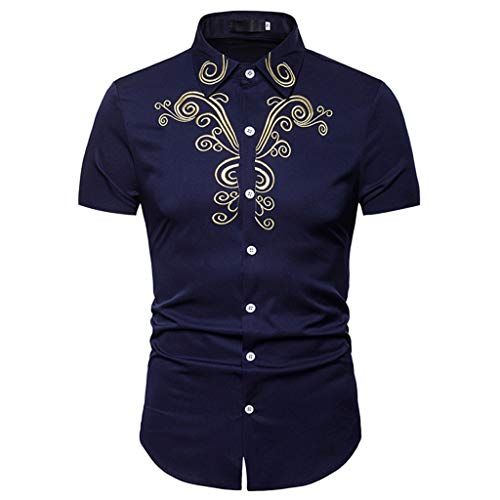 Toimothcn Mens Polo Shirts Button Down Slim Fit Short Sleeve Embroidery T Shirt Tops(Navy3,M)]()