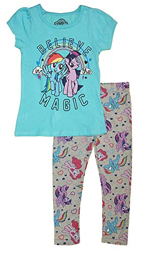My Little Pony Little Girls' Toddler Believe in The Magic Two-Piece Legging Set, Blue/Gray, 3T -