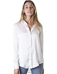 Women's 100% Pure Satin Charmeuse Silk Loose Button-Down Shirt Be Noticed