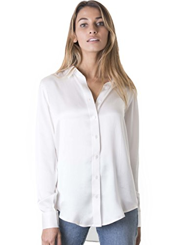 CAMIXA Women 100% Silk Blouse Long Sleeve Ladies Shirt Satin Pure Charmeuse Silk M White