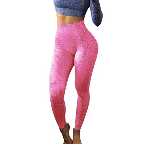 FONMA Women High Waist Pants Hip Seamless Jacquard Point Speed Dry Fitness Yoga Pants Hot Pink]()