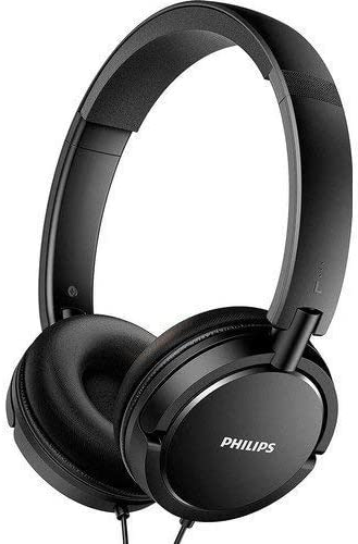 Philips Over The Ear Headphones Foldable Stereo Extra Bass Portable Headphones Headset SHL Series Lightweight 3.5mm Jack Plug (Black)