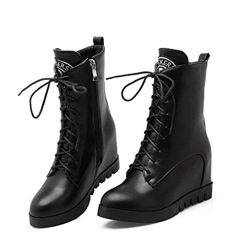 Closed Top Toe Low Women's Boots Heels Round Solid Black Pu High AgooLar OnawXSExO