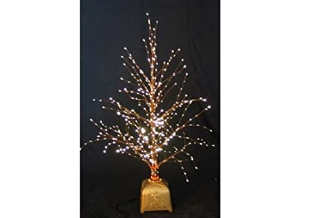 Christmas Concepts® 32 Inch Brown Fibre Optic Twig Tree with Gold Base - Christmas Concepts® 32 Inch Brown Fibre Optic Twig Tree With Gold