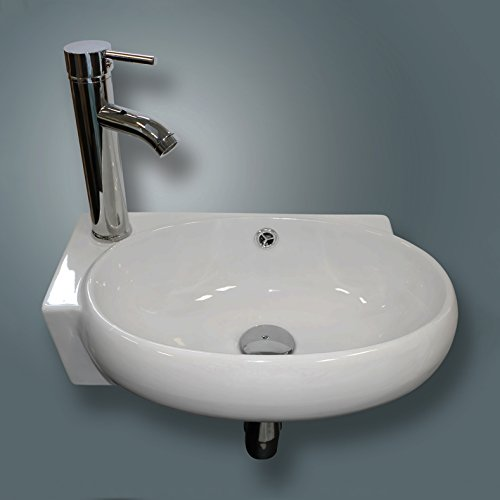 Sliverylake Bathroom Corner Sink Wall Mounted Sink White Porcelain Ceramic Vessel Sink and Faucet Combo