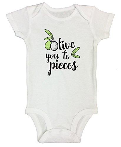 Funny Threadz Kids Funny Saying Onesie Bodysuit Olive You to Pieces Cute Italian Onesie 6-9 Months, White ()