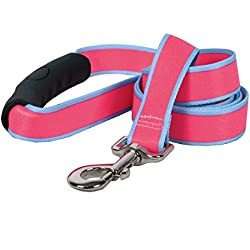 "Yellow Dog Design Sterling Stripes Pink Light Blue Dog Leash with Comfort Grip Handle-Medium-3/4 5' x 60"""