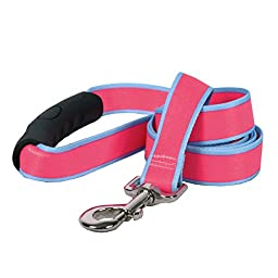 Yellow Dog Design Sterling Stripes Pink Light Blue Dog Leash with Comfort Grip Handle-Large-1\