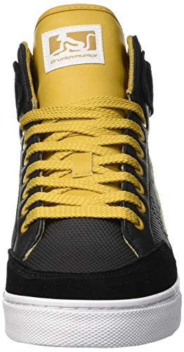 DrunknMunky Alto Uomo a Sneaker 014 Boston Vitaminix Yellow Collo Nero Black rSnfra1