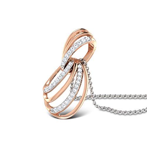 Or Rose 14K 0,15CT TW Round-cut-diamond (IJ | SI) Pendentif