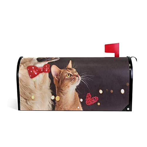 Ladninag Cat Dog Abyssinian Kitten Golden Black Night Mailbox Covers Magnetic Mail Letter Post Box Cover Standard Size 20.7