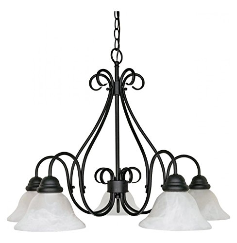 Castillo - 5 Light - 28In. - Chandelier - W/ Alabaster Swirl Glass