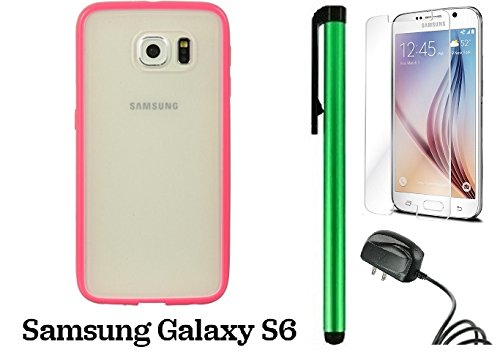 Samsung Galaxy S6 (2015 Samsung New Flagship Android Phone; US Carrier: Verizon Wireless, AT&T, Sprint, and T-Mobile) Phone Case - Premium colored border and transparent rear cover case + Travel (Wall) Charger + Screen Protector Film + 1 of New Metal Styl by WAM Samsung Galaxy S8