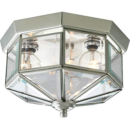 Progress Lighting P5788-09 Octagonal Close-to-Ceiling Fixture with Clear Bound Beveled Glass, Brushed -