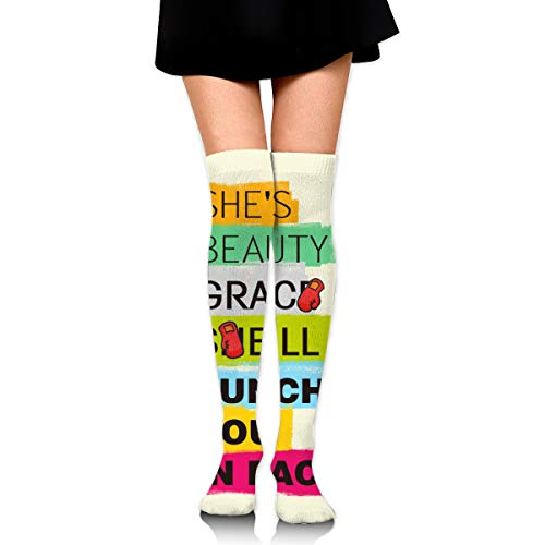 Knee High Socks She's Beauty Grace She'll Punch You In Face Women's Athletic Over Thigh Long Stockings