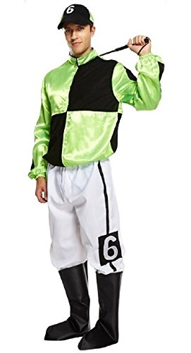 Mens Adult Green 4 Piece Jockey Horse Racing Uniform Sports Fancy Dress Costume Outfit (STD) -