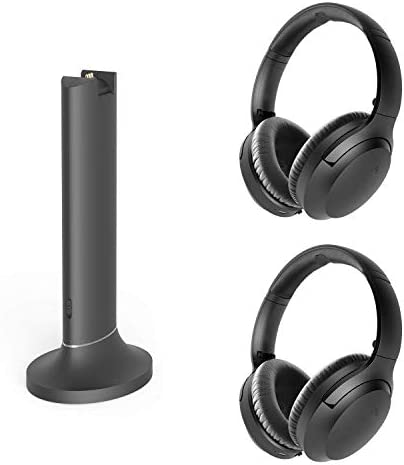 Avantree Opera Dual Link Bundle – Wireless Headphones High Volume for Seniors, Hearing Impaired (Set of 2) & Bluetooth 5.0 Transmitter Charging Dock, Long Range, Audio Bypass for Soundbar, No Delay