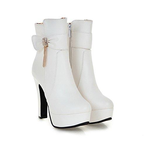 BalaMasa Ladies Metal Chain Platform Chunky Heels Spun Gold Bowknot Imitated Leather Boots White iP7cow