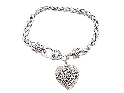 Cowgirl Script Western Heart Clear Crystal Silver Chain Bracelet Jewelry Rodeo Racing