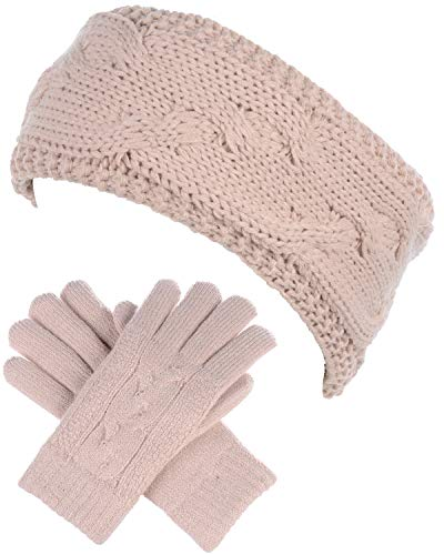 BYOS Womens Winter Cable Plush Warm Fleece Lined Knit Gloves & Headband 2 Pieces Set,Various Styles (Cable Knit Bisque)