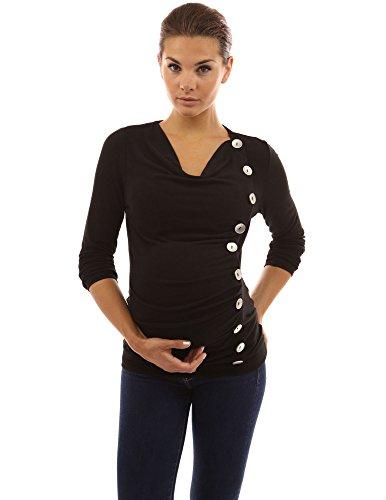 PattyBoutik Mama Mujer capucha botones de cuello de la tapa túnica de maternidad negro
