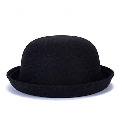 Pierre LaMarreDS Vintage Child Solid Roll-up Brim Fedora Bowler Hat -