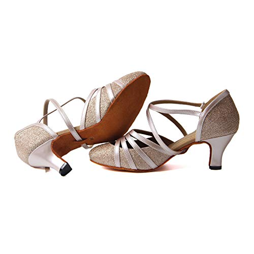 Samba Mujer Zapatos Salsa Tango De Champán Salón Danza 6cm Sandalia Latino Syrads Para Vals Baile S8wXqX
