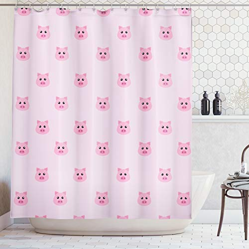 (Ambesonne Pig Decor Collection, Pig Avatar Kid-Friendly Clip Art Funny Icon Illustration Design Art Print, Polyester Fabric Bathroom Shower Curtain Set with Hooks, Pink Blush)