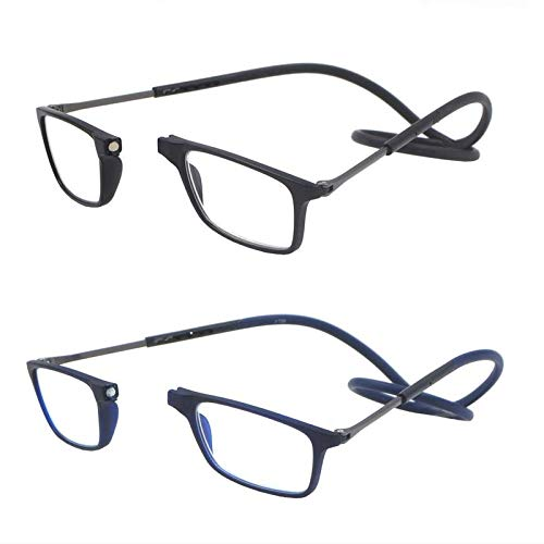 2 Pack Unisex Foldable Magnetic Reading Glasses with Adjustable Temple (Black and Blue,1.5X)