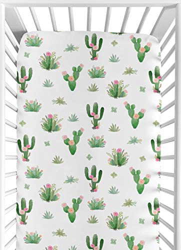 Pink Green Boho Watercolor Baby or Toddler Fitted Crib Sheet for Cactus Floral Collection by Sweet Jojo Designs