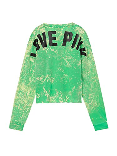 Victoria's Secret Pink Campus Cropped Long Sleeve V-Neck Tee Tie Dye Neon Mint NWT Large Long Sleeved Tie Dye