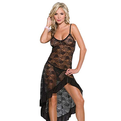 Plus Size Temptation Long Nightie Dress Sexy Lingerie Rose Lace Nightgown Sleepwear Sexy Costumes(Black,L)