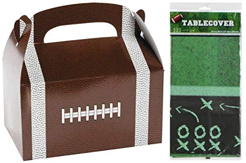 8 Football Treat Boxes & Table Cover for Birthday Party Favors, Super Bowl Rams Patriots Sports Decoration, Gifts]()