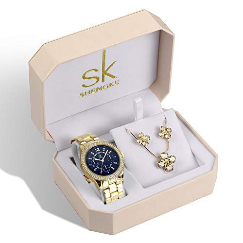 SK Women Earring Watches Luxury Rose Gold and Gold Jewelry Set Female Watch Set Christmas Gifts (K0098-Gold-Set) from sk SHENGKE