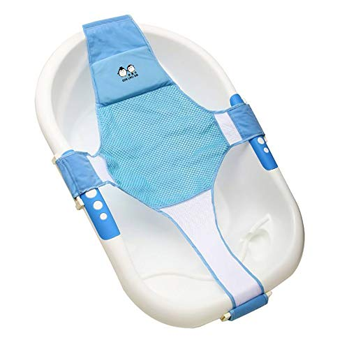 StillCool Newborn Baby Bath Seat Support Net Bathtub Sling Shower Mesh Bathing Cradle Rings for Tub (Blue)