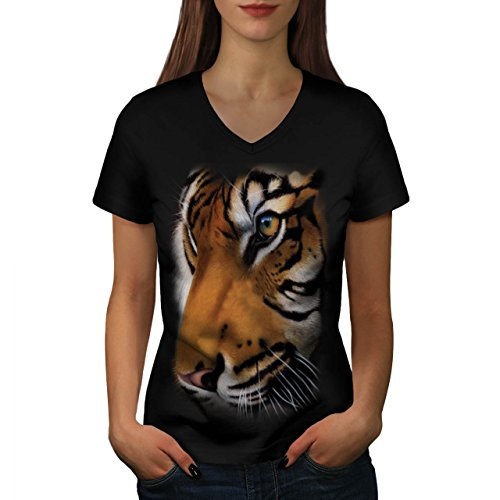 [Bengal White Tiger Big Face Women NEW M V-Neck T-shirt | Wellcoda] (Bear Jew Costume)