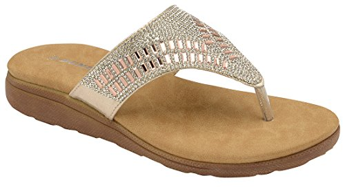Dunlop Ladies Flip Flops Low Wedge Toe Post Slip on Sandals Flat Cushioned Slippers Gold k9fzoWvgOW