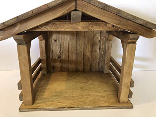 Nativity stable, Creche, Manger, Wood Nativity display, Christmas decor