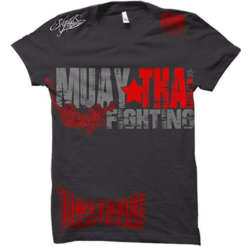 (Muay Thai Fighting Tiger Adult MMA Shorts Sleeve T-shirt Top Ufc Tapout Bjj Clothing Size (Large))