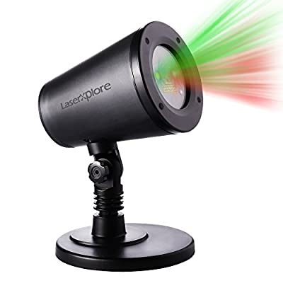 LaserXplore Laser Christmas Lights, Red and Green Star Projector, Moving Star Laser with 7 Lighting Modes for Christmas, Holiday, Parties, Landscape and Garden Decoration