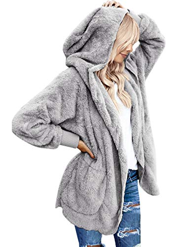 - Vetinee Women's Faux Fur Coat Hooded Cardigan Fuzzy Fleece Long Jacket Outerwear Light Gray Size S