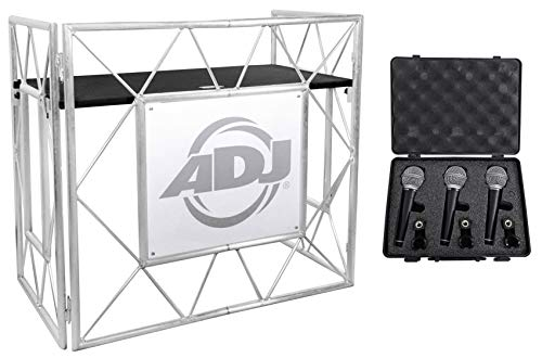 American DJ Pro Event Table II Foldable DJ Booth Truss Facade + (3) Microphones