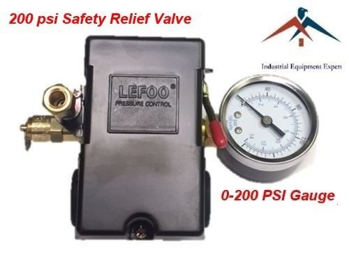 Air Compressor Pressure Control Switch 4 Ports 145-175 PSI w/ 0-200 PSI Gauge 200 PSI pop off valve