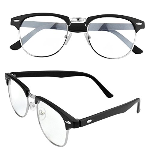 Vintage Retro Classic Half Frame Horn Rimmed Clear Lens Glasses, Marrywindix Fashion Unisex Computer Glasses (Colonel Costume For Kids)