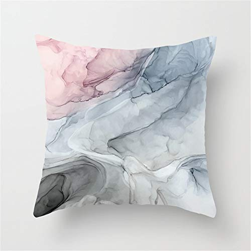 Jay94 Pastel Blush, Grey and Blue Ink Clouds Painting Throw Pillow Case Cushion Cover 18 X 18 inches (Multi Ink Blue)